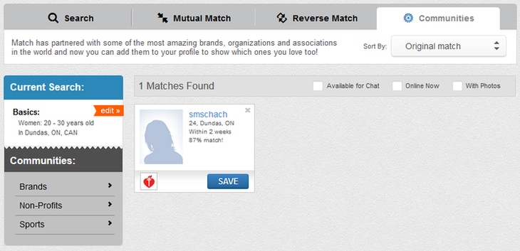 Match.com Search Page Settings Screenshot