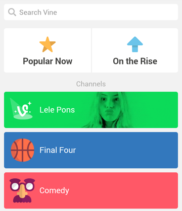 Browsing content channels in Vine