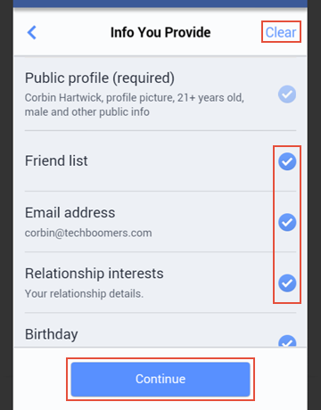 How to choose the details of your Facebook profile to import to Tinder