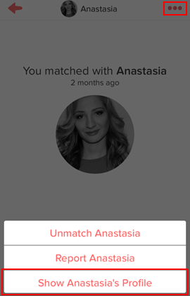 How to view a Tinder match's profile from the conversation screen