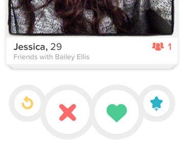 Like, ignore, super like, or rewind a suggested Tinder match