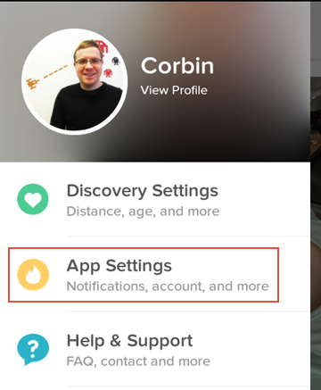 How to access the Tinder application settings