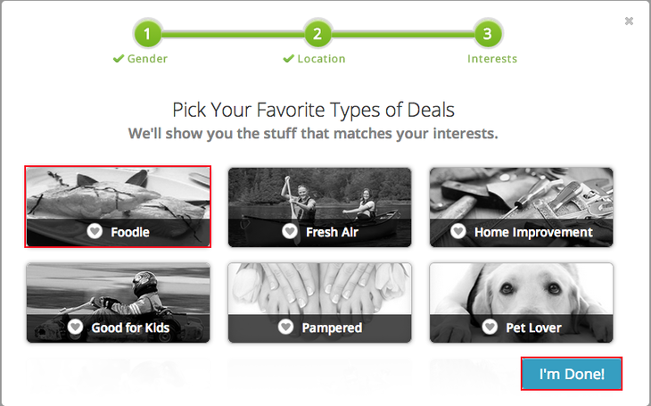 Telling Groupon the kinds of deals that you are interested in