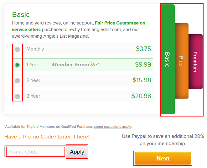 How to select a tier and length of an Angie's List subscription
