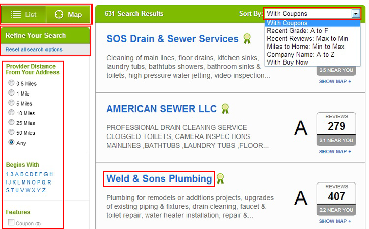 How to sort or filter businesses on the Angie's List search page