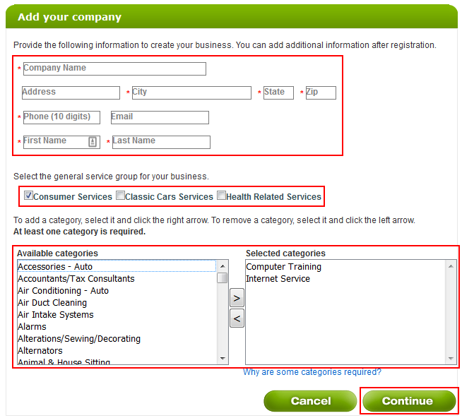 How to enter your company details into Angie's List