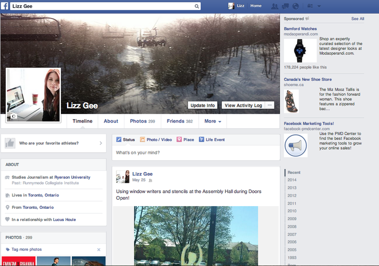 Facebook Profile Page Screenshot