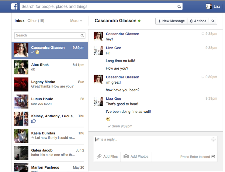 Facebook Messages Inbox Screenshot