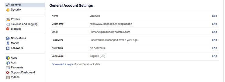 Facebook Account Settings Screenshot