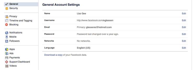 Facebook Account Settings Screenshot