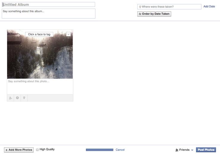 Facebook Photos Upload Screenshot
