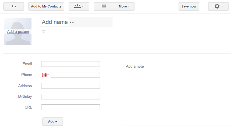 Gmail Add Contact Form Screenshot