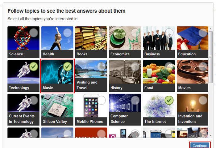 Picking topics on Quora that interest you