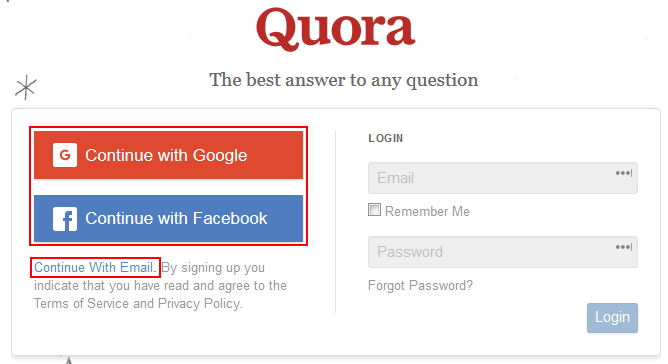 Some different methods for signing up for Quora