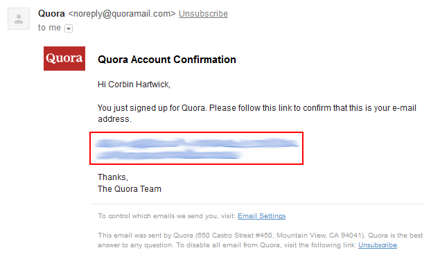 How to confirm your email address for Quora