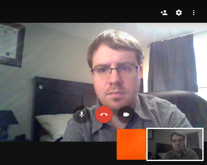 Placing a video call over Google Hangouts