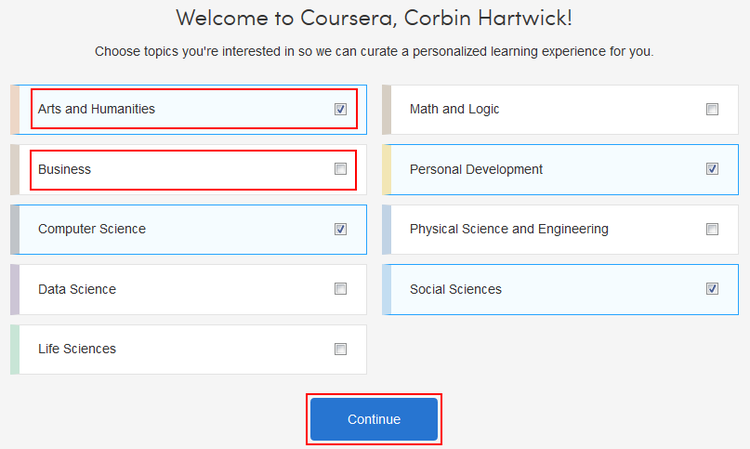 Select your preferred Coursera subject fields