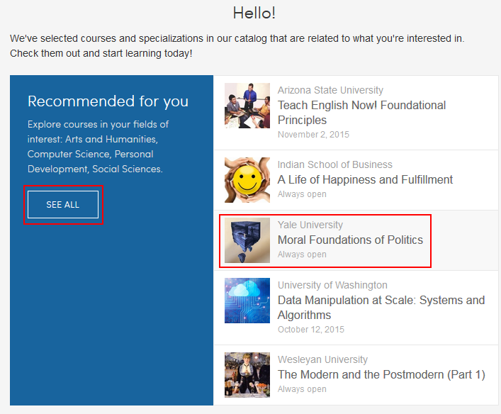 Selecting from recommended Coursera courses