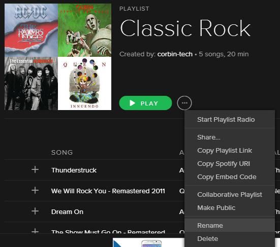 Creating a Spotify playlist