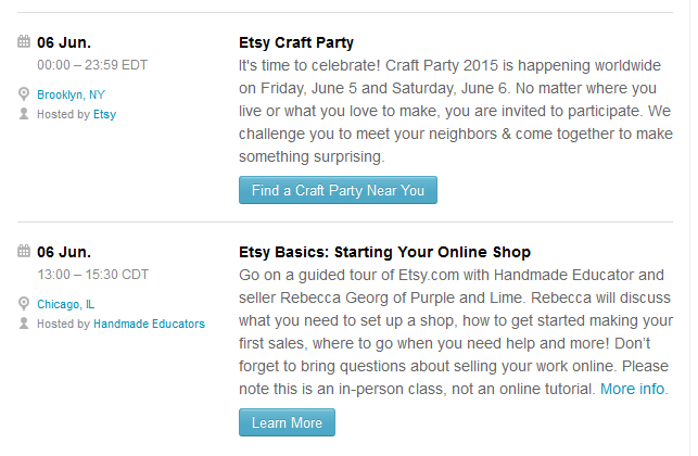 Finding craft fairs on Etsy to attend