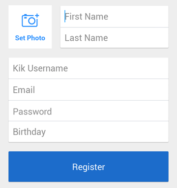 Signing up for a Kik account