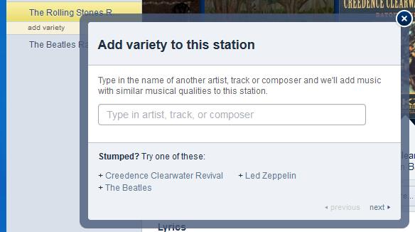 Refining the musical criteria for a Pandora radio station