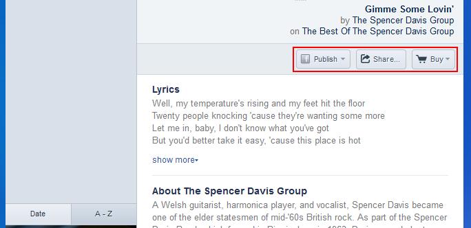 Sharing or purchasing music found on Pandora