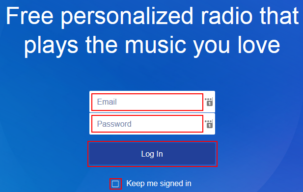 How to fill out the Pandora log in form