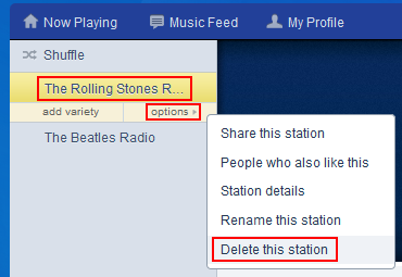 How to delete a Pandora radio station