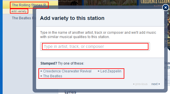 How to add extra criteria to a Pandora radio station