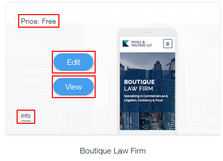 How to view information about or select a Wix template