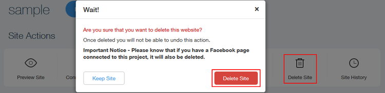 How to delete a Wix website