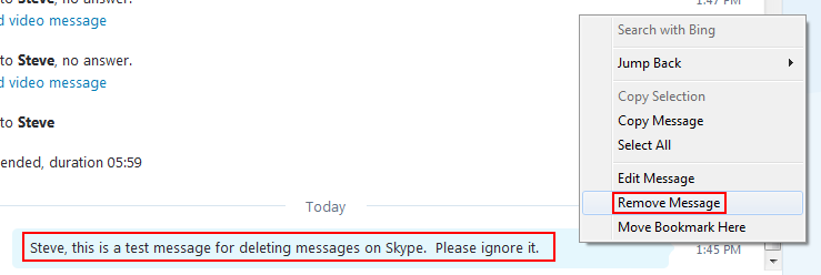 How to remove a single Skype message from a conversation