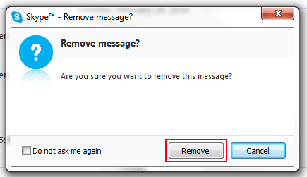 How to confirm the deletion of a single Skype message