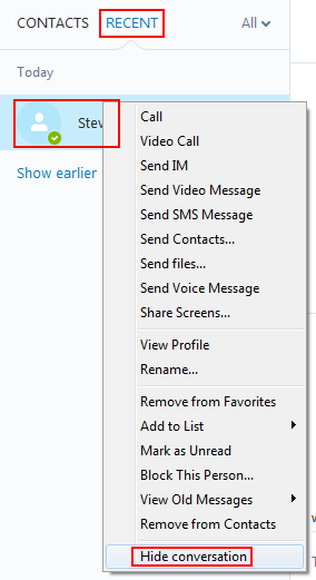 How to hide a Skype conversation
