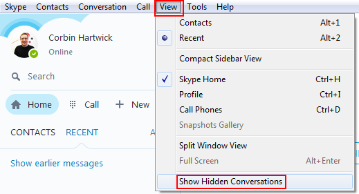 How to reveal hidden Skype conversations