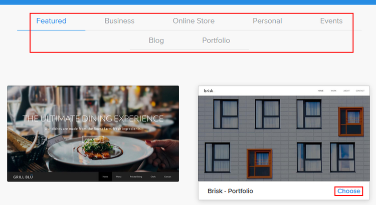 Choosing a theme for your Weebly website
