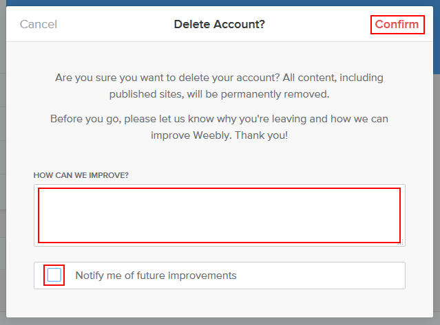 How to confirm the deletion of your Weebly account
