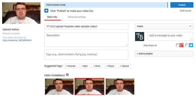 Tools and options for uploading YouTube videos