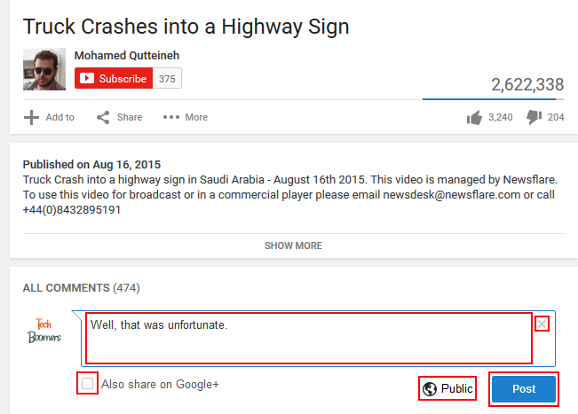 How to write and post a comment on YouTube