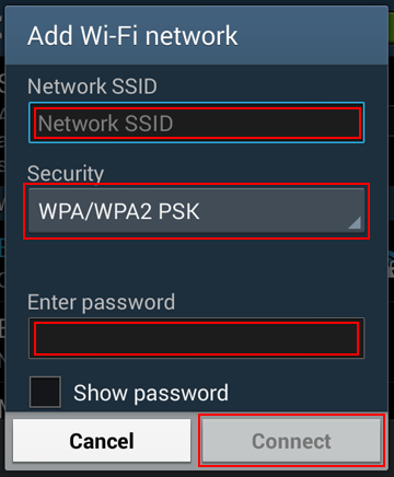 How to enter the credentials for a new wireless network on your mobile device