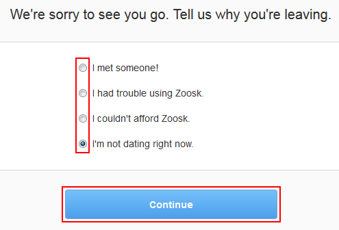 Disable zoosk account