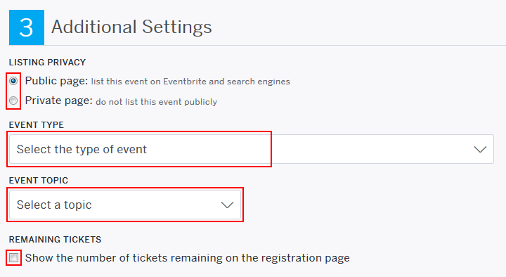 How to adjust other Eventbrite event settings
