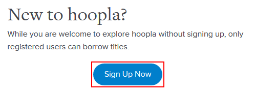 The Hoopla sign up button