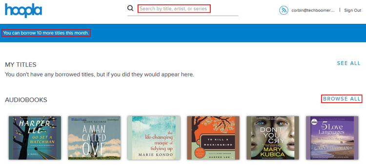 How to browse or search for titles in Hoopla