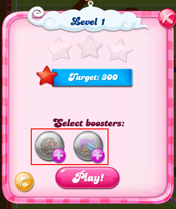 Selecting pre-level boosters in Candy Crush Saga