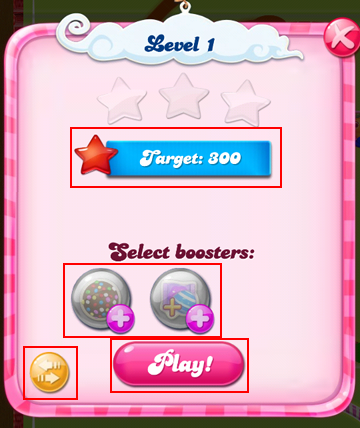 How to use the level setup screen for Candy Crush Saga