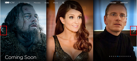Scroll through the HBO Now home page banner to browse