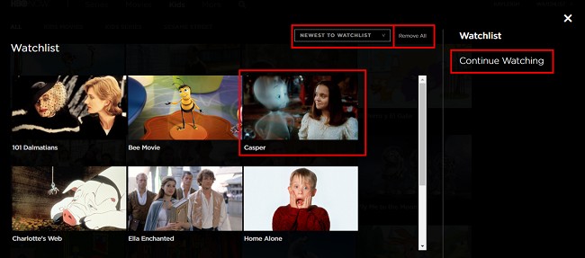 Click on your Watchlist to find shows and movies you have saved for later, or to continue watching
