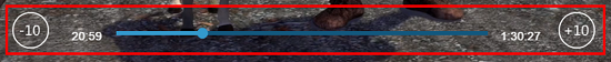Use the seek bar to jump anywhere, or use the -10 icon to skip back ten seconds, or the +10 icon to skip ahead